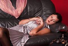 Beautiful young woman in boudoir Stock Photo