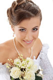 Beautiful young woman with bouquet Royalty Free Stock Photos