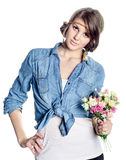 Beautiful young woman with bouquet Royalty Free Stock Images