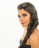 Beautiful young woman  braided hair Royalty Free Stock Photos