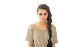 Beautiful young woman  braided hair Royalty Free Stock Photo