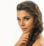 Beautiful young woman  braided hair Royalty Free Stock Images