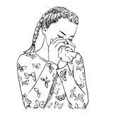 Beautiful young woman with braids blows her nose in a handkerchief because of spring allergy or sick, or crying Vector. Beautiful young woman with braids blows Royalty Free Stock Image