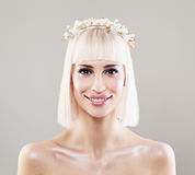 Beautiful Young Woman Bride with Blonde Bob Hairdo Stock Photo