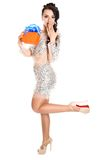 Beautiful young woman with a bright gift Royalty Free Stock Photography
