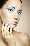 Beautiful young woman with bright make-up and mani Royalty Free Stock Photos
