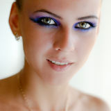 Beautiful young woman with bright makeup closeup Royalty Free Stock Photos