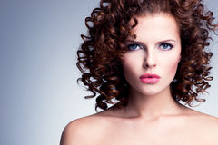 Beautiful young woman with bright makeup. royalty free stock photos