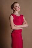 Beautiful young woman in bright slinky dress Stock Images