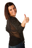 Beautiful young woman with brown hair dressed casual showing thu Stock Photos