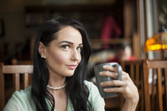 Beautiful Young Woman with Brown Hair and Eyes Royalty Free Stock Image