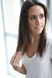 Beautiful Young Woman with Brown Hair and Eyes Royalty Free Stock Photos