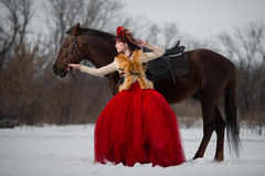 Beautiful young woman with a brown horse. Beautiful woman in red dress with a brown horse royalty free stock image