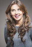 Beautiful Young Woman with Brown Long Hair and Fashion Vivid Mak Royalty Free Stock Image