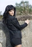 Beautiful young woman in business suit royalty free stock images