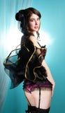 Beautiful young woman cabaret burlesque showgirl portrait Stock Images