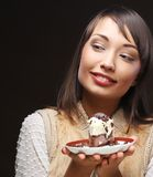 Beautiful  young woman with a cake Royalty Free Stock Photo