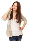 Beautiful young woman calling by phone Royalty Free Stock Images