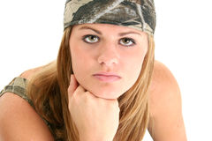 Beautiful Young Woman In Camo. Rag and tank. Shot in studio over white. Stunning eyes and perfect skin stock images