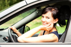Beautiful young woman in the car, Royalty Free Stock Images