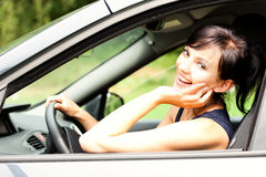 Beautiful young woman in the car, Stock Image