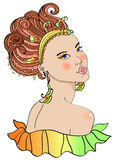 Beautiful young woman in carnival dress. Bright illustration Royalty Free Stock Photos