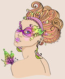Beautiful young woman in carnival mask. Bright illustration Stock Images