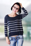 Beautiful young woman in casual clothes Stock Photos