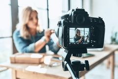 Her new video is awesome. Royalty Free Stock Images