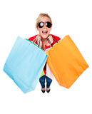 Beautiful Young Woman Celebrating Shopping stock photo