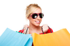 Beautiful Young Woman Celebrating Shopping Royalty Free Stock Photography