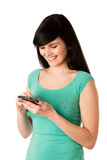 Beautiful young woman with cell phone Royalty Free Stock Photo