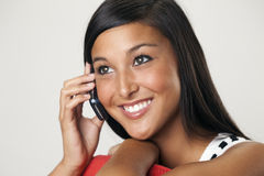 Beautiful Young Woman on a Cellphone Royalty Free Stock Photography