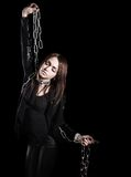 Beautiful young woman with chains Stock Images