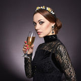 Beautiful young woman with champagne Royalty Free Stock Photo