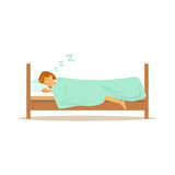 Beautiful young woman character sleeping in her bed, people resting vector Illustration Royalty Free Stock Photography