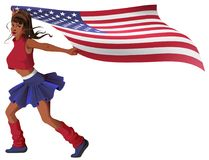 Beautiful young woman cheerleader carries US flag. Isolated on white vector cartoon illustration Stock Images