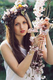 Beautiful young woman among cherry flowers Royalty Free Stock Images