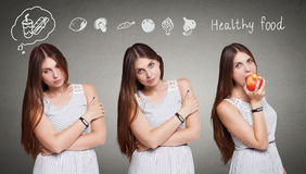 Beautiful young woman choose healthy food, diet concept Stock Photos