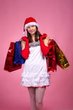 Beautiful young woman in Christmas Stock Photos