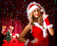 Beautiful young woman in a Christmas clothes Stock Photography
