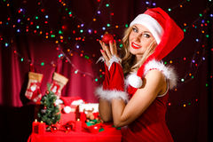 Beautiful young woman in a Christmas clothes Stock Photo