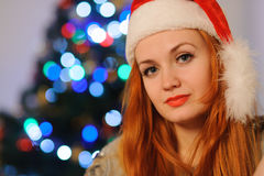 Beautiful young woman during christmas holidays stock image