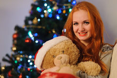 Beautiful young woman during christmas holidays stock photo