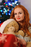 Beautiful young woman during christmas holidays royalty free stock image