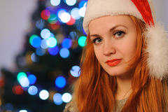 Beautiful young woman during christmas holidays royalty free stock photo