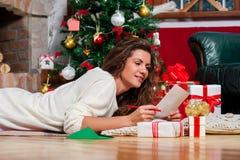 Beautiful young woman at christmas Stock Photo