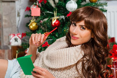 Beautiful young woman at christmas Stock Image