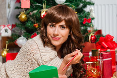 Beautiful young woman at christmas Royalty Free Stock Image