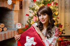 Beautiful young woman at christmas Royalty Free Stock Photo